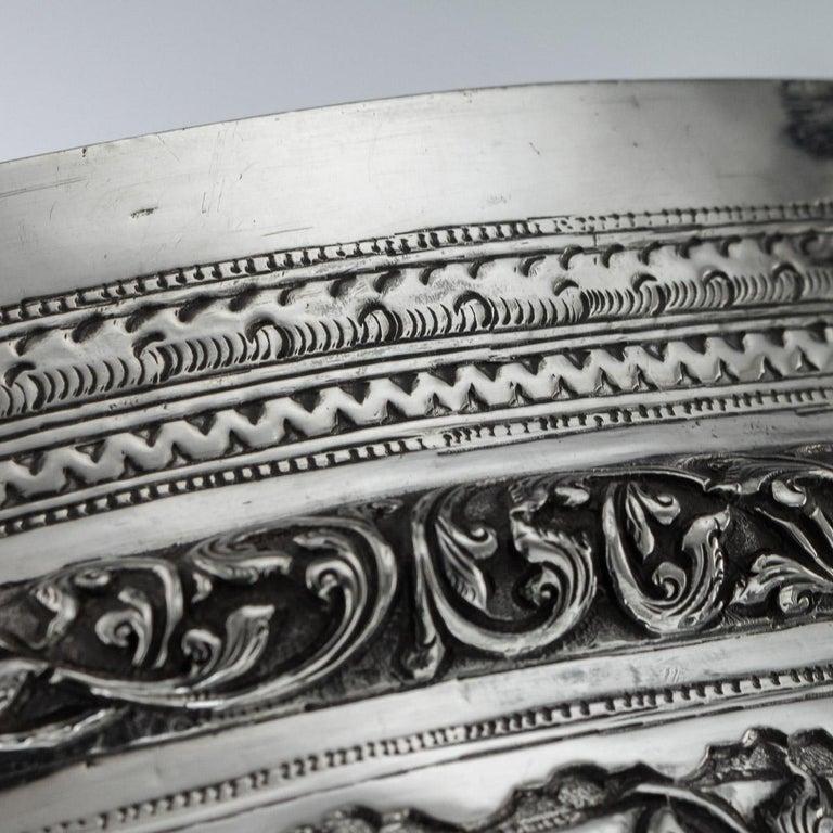 Antique Monumental Burmese Solid Silver Thabeik Bowl, Rangoon, circa 1900 For Sale 5