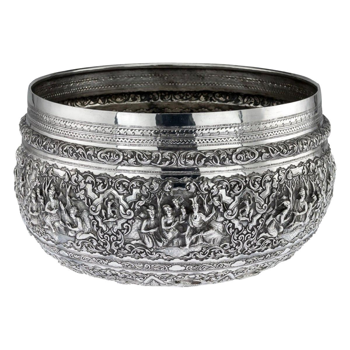 Antique Monumental Burmese Solid Silver Thabeik Bowl, Rangoon, circa 1900
