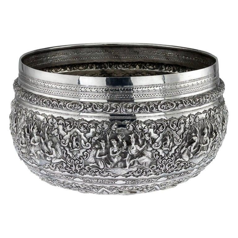 Antique Monumental Burmese Solid Silver Thabeik Bowl, Rangoon, circa 1900 For Sale