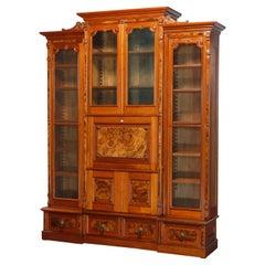 Antique Monumental Eastlake Stepback Walnut & Burl Secretary Bookcase, C1890