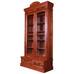Antique Monumental Eastlake Victorian Burled Walnut Bookcase, circa 1860s