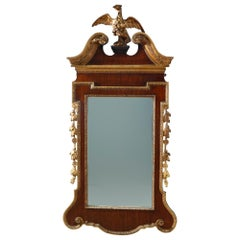 Antique Monumental Federal Style Parcel Gilt Wall Mirror With Eagle, Circa 1920
