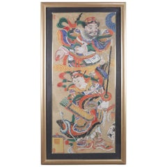 Antique Monumental Framed Chinese Painting of Warriors, Signed, 19th Century