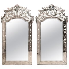 Antique Monumental Italian Venetian Style Floral Etched Wall Mirrors, 20th C