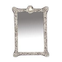 Antique Monumental Victorian Silver Easel Mirror John & William Deakin, 1901