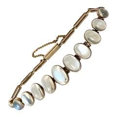 Antique Moonstone and 9 Carat Gold Bracelet