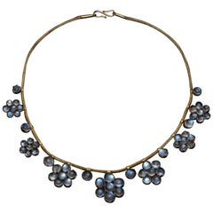 Antique Moonstone and Gold Necklace, English