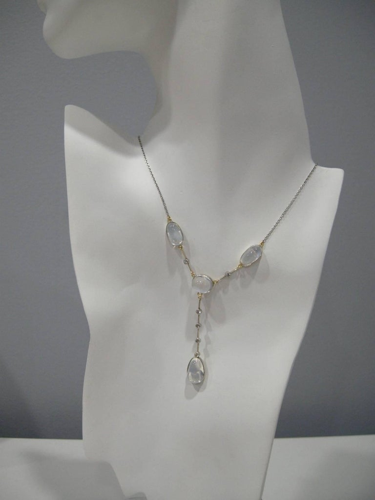 Old European Cut Antique Moonstone Diamond Platinum Necklace For Sale