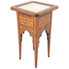 Antique Moorish Spain Inlaid Pedestal Side Table