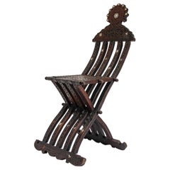 Antique Moorish Syrian Inlaid Folding Chair 19th Century