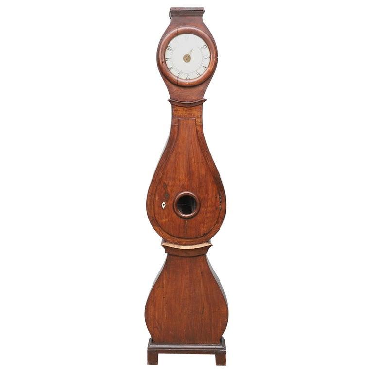 Antique Mora Clock Swedish Biedermeier Natural 1800s Gustavian Grandfather For Sale