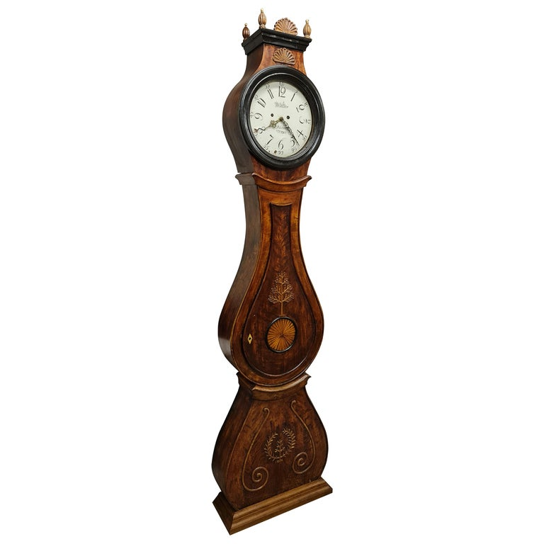 Antique Mora Clock Swedish Biedermeier Ormolu 1800s Gustavian Grandfather For Sale