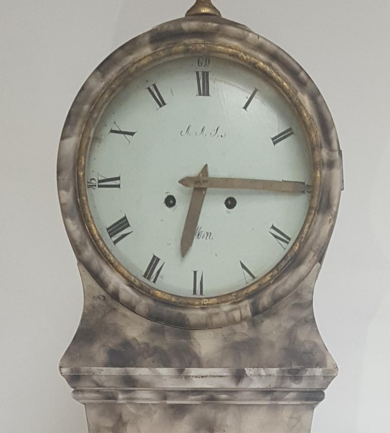 Hand-Painted Antique Mora Clock Swedish Faux Marble Finish, Early 1800s For Sale