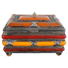 Antique Moroccan Bakelite & Silver Jewelry Casket Trinket Keepsake Box Boho