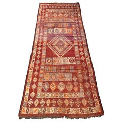 Antique Moroccan Berbere Tribal Long Rug