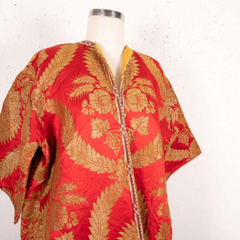 Silk Antique Moroccan Brocaded Kaftan, Early 20th Century For Sale