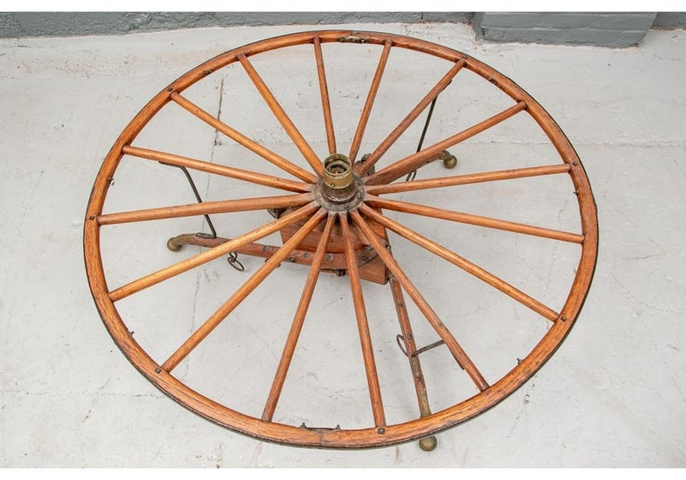Antique Moroccan Cart Wheel Coffee Table In Good Condition For Sale In Bridgeport, CT