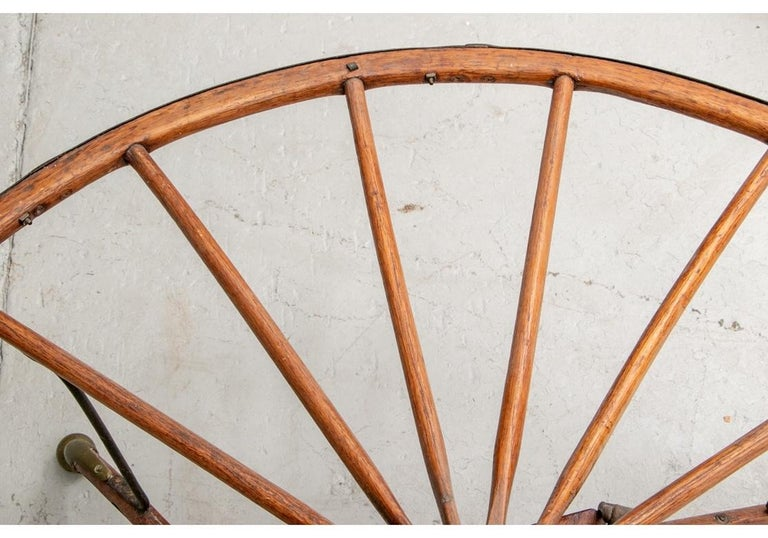 19th Century Antique Moroccan Cart Wheel Coffee Table For Sale