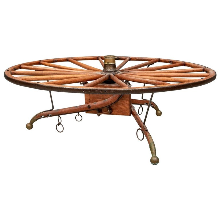 Antique Moroccan Cart Wheel Coffee Table For Sale