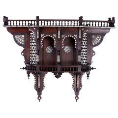 Antique Moroccan Carved and Inlaid Wall Bracket