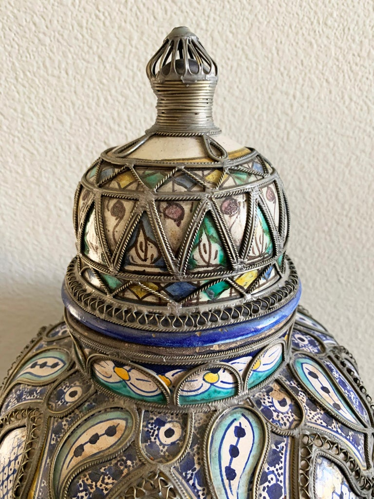 Moorish Antique Moroccan Ceramic Lidded Vase from Fez with Silver Filigree For Sale