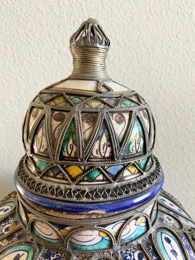 19th Century Antique Moroccan Ceramic Lidded Vase from Fez with Silver Filigree For Sale
