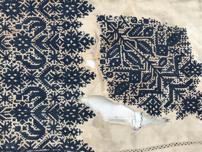 Beautiful and very fine embroidery from Fez, Morocco, blue silk embroidered on cotton foundation.