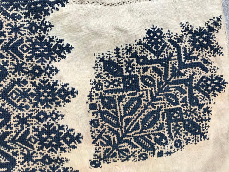 Tribal Antique Moroccan Fez Embroidery for Pillow For Sale