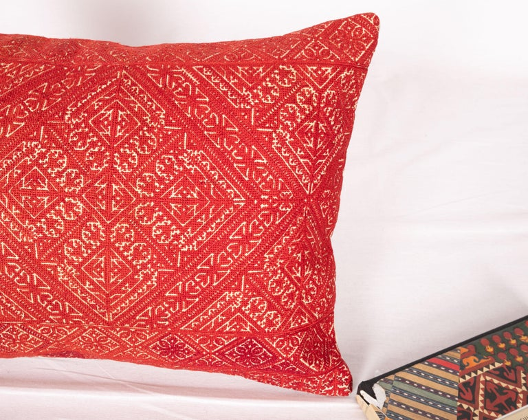 Embroidered Antique Moroccan Fez Embroidery Pillow Case, Early 20th Century For Sale