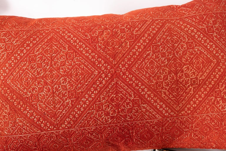 Silk Antique Moroccan Fez Embroidery Pillow Case, Early 20th Century For Sale