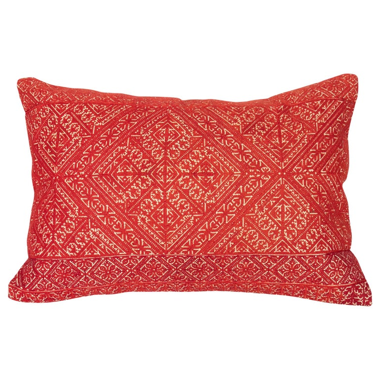 Antique Moroccan Fez Embroidery Pillow Case, Early 20th Century For Sale