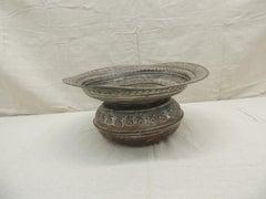 Antique Moroccan Hand Hammered Copper Round Vessel