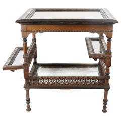 Antique Moroccan Inlaid Wood and Mirrored Bar Table