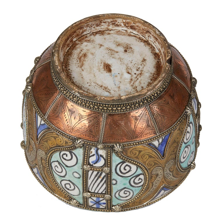 Antique Moroccan Jobbana Ceramic Lidded Butter Pot For Sale 6