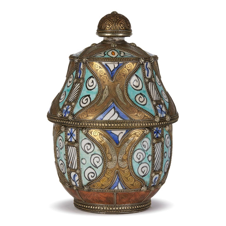 20th Century Antique Moroccan Jobbana Ceramic Lidded Butter Pot For Sale