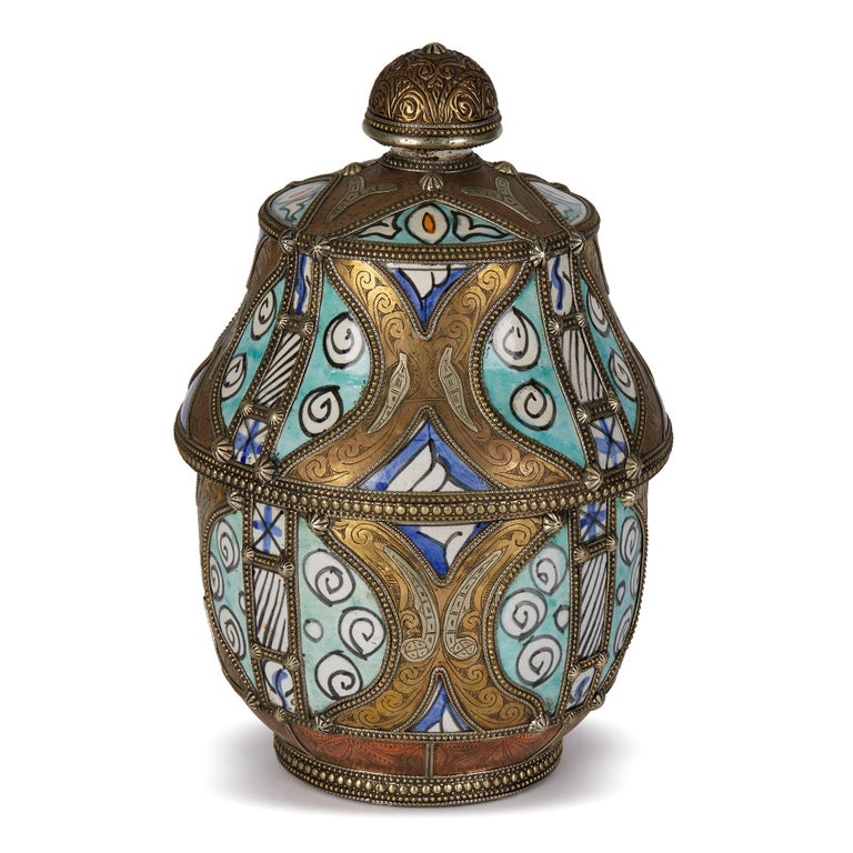 Metal Antique Moroccan Jobbana Ceramic Lidded Butter Pot For Sale