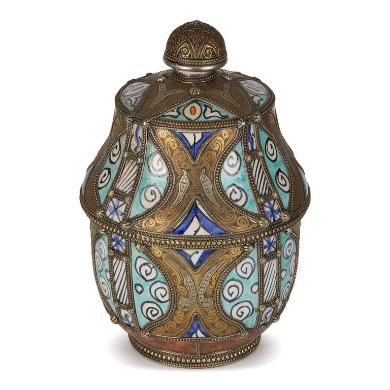 Antique Moroccan Jobbana Ceramic Lidded Butter Pot For Sale 1