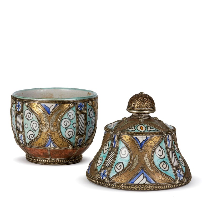 Antique Moroccan Jobbana Ceramic Lidded Butter Pot For Sale 4
