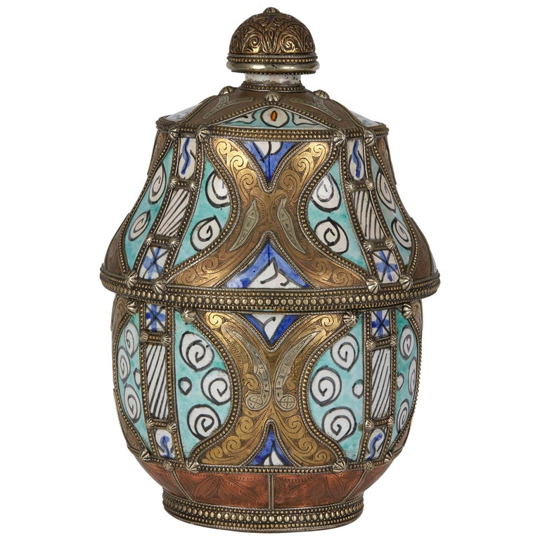 Antique Moroccan Jobbana Ceramic Lidded Butter Pot For Sale