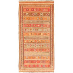 Antique Moroccan Kilim with Embroidery in Red, Orange, Gray and Brown