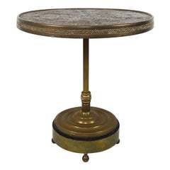 Antique Moroccan Occasional Table with Hammered and Engraved Copper Top