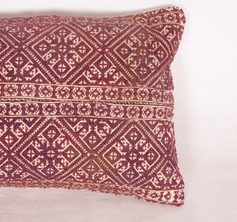 Tribal Antique Moroccan Pillow Case Fashioned from a Fez Embroidery, Early 20th Century For Sale