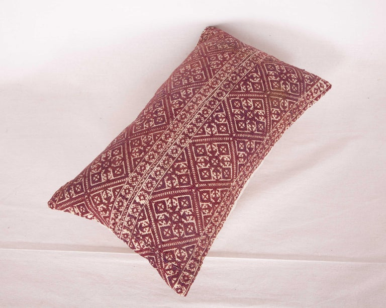 Silk Antique Moroccan Pillow Case Fashioned from a Fez Embroidery, Early 20th Century For Sale