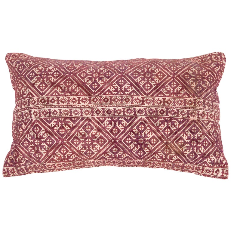 Antique Moroccan Pillow Case Fashioned from a Fez Embroidery, Early 20th Century For Sale