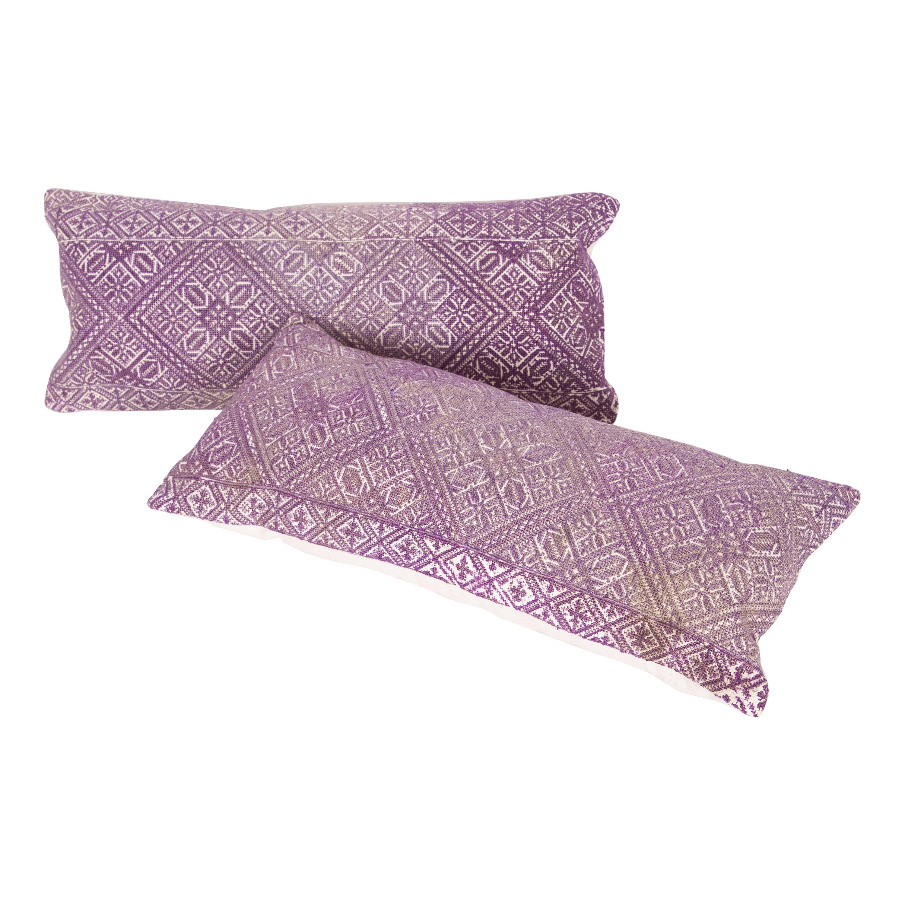Antique Moroccan Pillow Cases Fashioned from a Fez Embroidery Early 20th Century