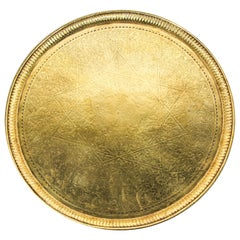 Antique Moroccan Round Brass Tray