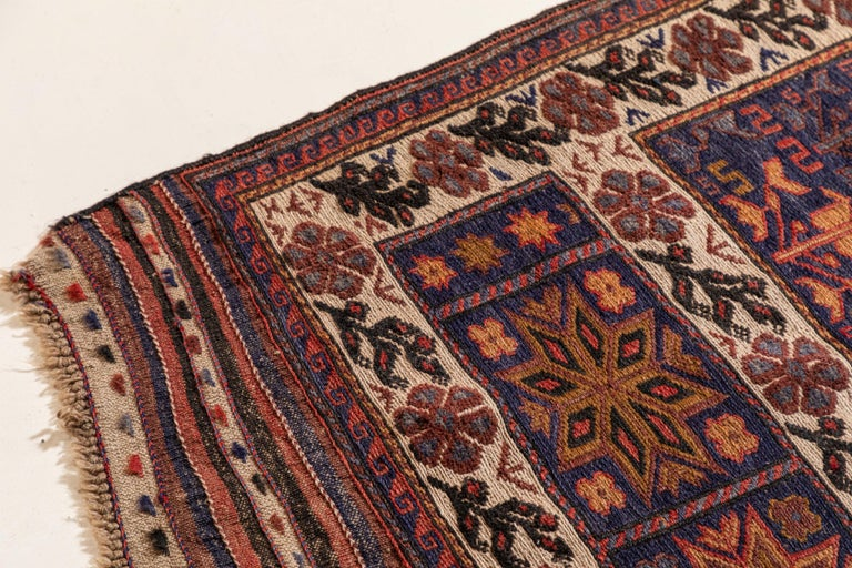 Wool Antique Moroccan Rug with Floral Motif For Sale