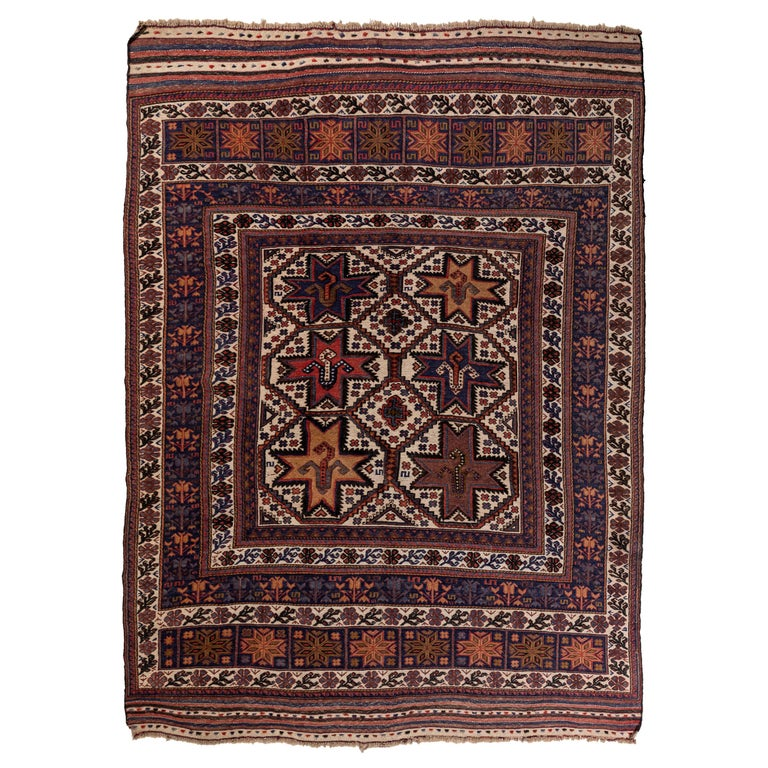 Antique Moroccan Rug with Floral Motif For Sale