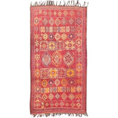Antique Moroccan Rug with Red Field and Colorful Geometric Motifs
