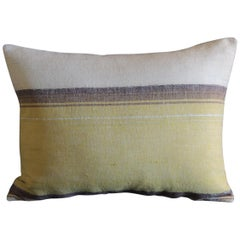 Antique Moroccan Woven Yellow and Brown Stripe Decorative Bolster Pillow
